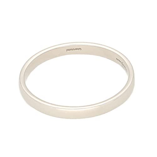 Jollys Jewellers Alianza de boda de platino suave para hombre (talla T 1/2) 2 mm de ancho