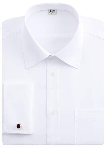 J.VER Hombres Doble Manguito Negocios Camisas de Vestir Formales con Gemelos de Metal...