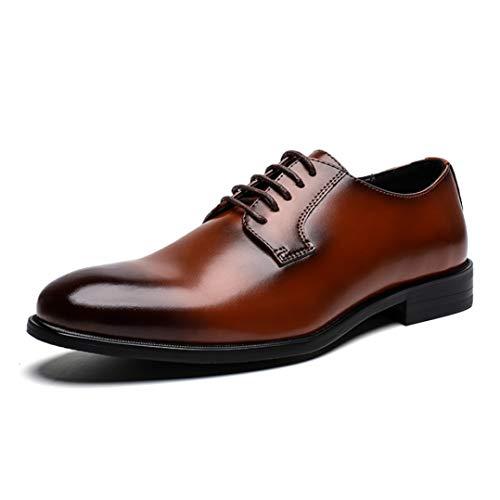 Zapatos De Negocios para Hombres Zapatos De Punta Puntiaguda con Cordones Zapatos De Cuero...
