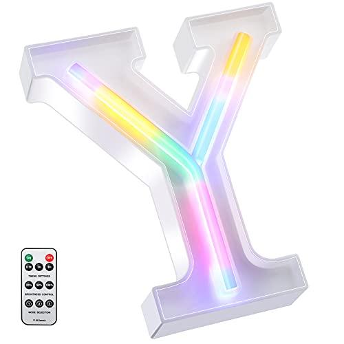 Letras Grandes para Bodas Arcoíris Neon 16 cm