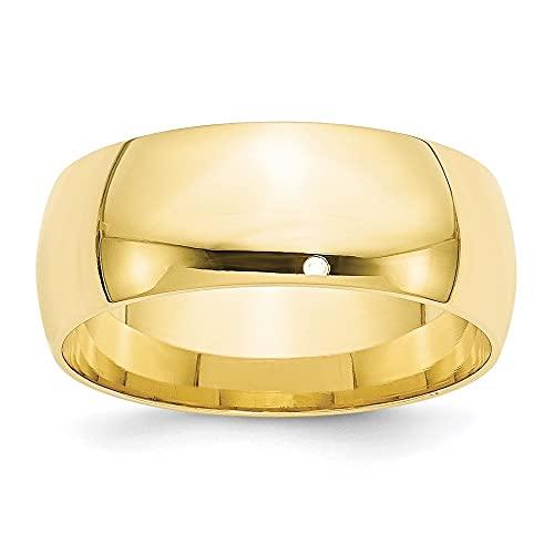 DIAMOND2DEAL INC Alianza de Boda de Oro Amarillo de 10 Quilates, 8 mm LTW, Ajuste cómodo,...