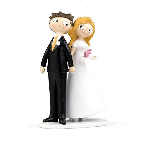 Mopec Pop & Fun - Figura para tarta de boda pareja de novios de la mano, 21,5 cm, color...