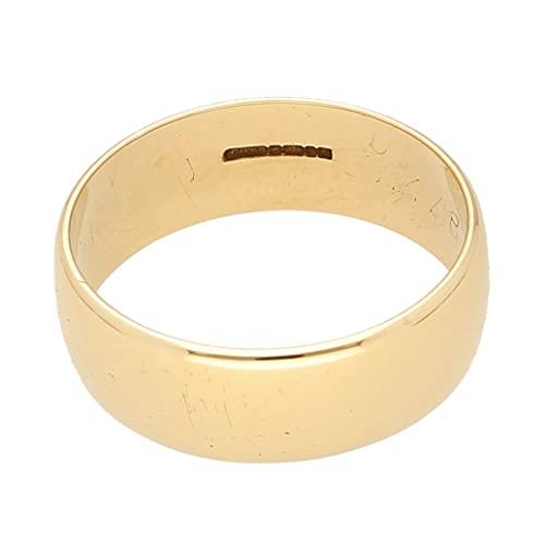 Jollys Jewellers Alianza de boda vintage de oro amarillo de 9 quilates en forma de D para...