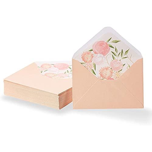 Sobres de invitación A1, melocotón con forro floral (3.6 x 5.1 pulgadas, 50 unidades)