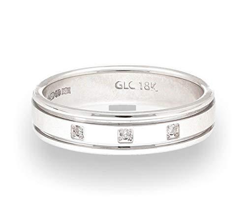 Alianza de boda de oro blanco de 18 quilates con tres piedras de diamante (tamaño L 1/2)...