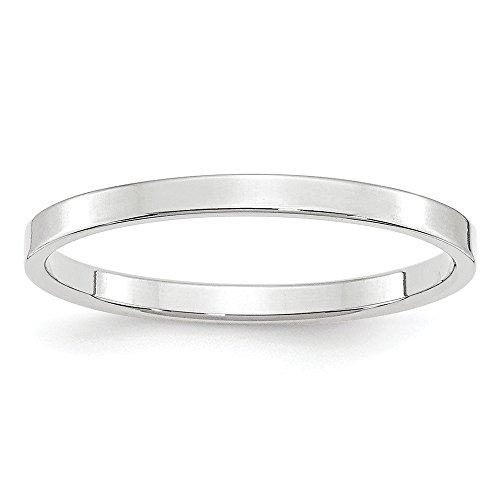 Alianza de boda plana de oro blanco de 14 quilates, 2 mm, tamaño 9 para mujer