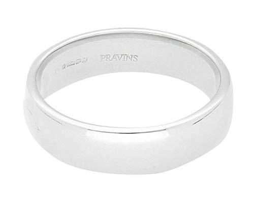 Platinum 950 - Alianza de boda de estilo de corte suave (tamaño Q 1/2), 5,5 mm de ancho