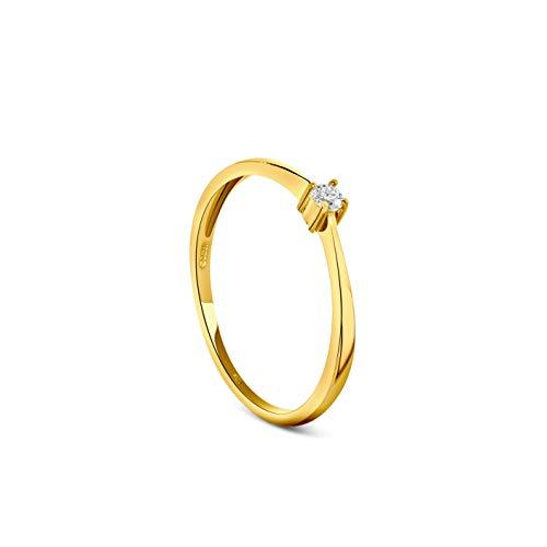 Miore Anillo de compromiso con diamante solitario brillante de 0,05 quilates, de oro...