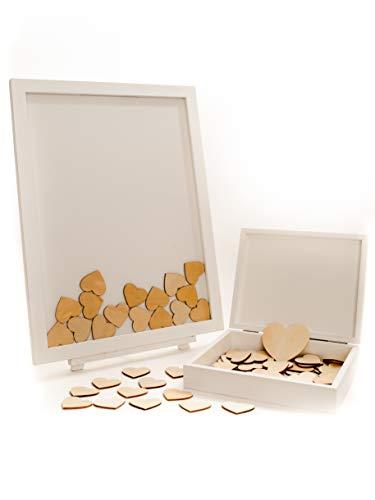 Bozy nature - Libro de visitas para bodas (marco de madera, con corazones de madera),...