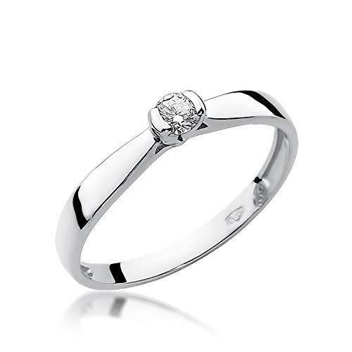 Anillo de compromiso para mujer, oro blanco 585 de 14 quilates, diamante natural y...