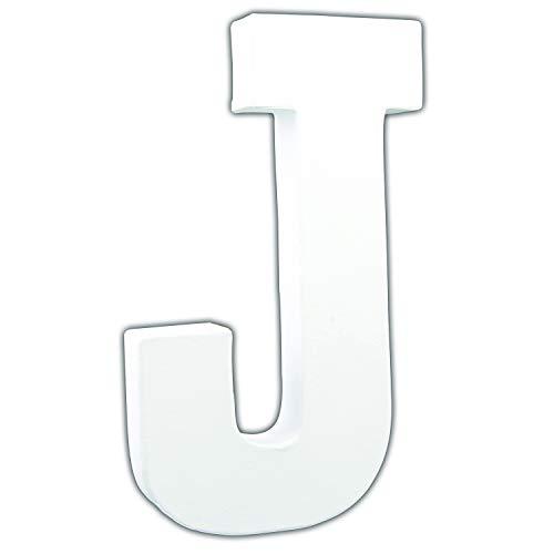 Decopatch–Letra J, Papel maché, Grande, 3x 13x 20,5cm, Color Blanco