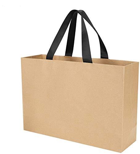10 bolsas de regalo de papel Kraft con asa grande, reutilizables, reutilizables, bolsas de...