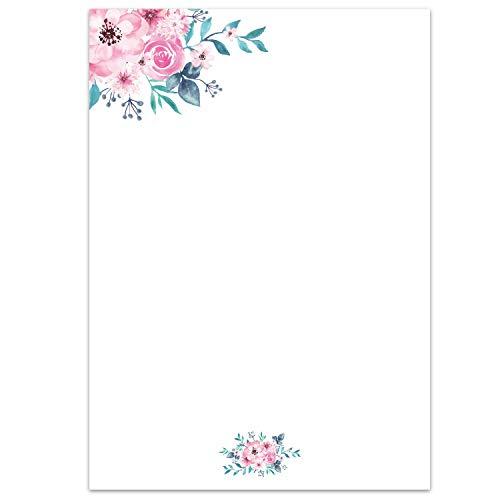 Juego de papel de carta flores-acuarela I 50 hojas papel con estampado en DIN A4 I vintage...