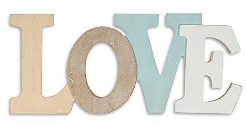 levandeo Letras 3D Love 30 x 13 cm, madera, color azul y blanco natural, letras...