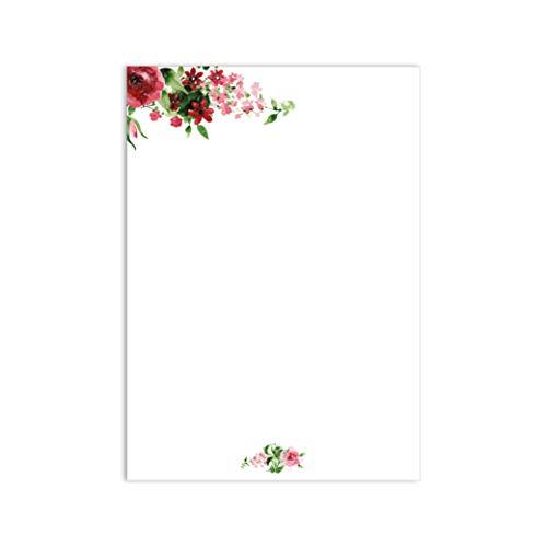 Juego de papel de carta rosa I 50 hojas papel con estampado rosa rojo verde claro en DIN...