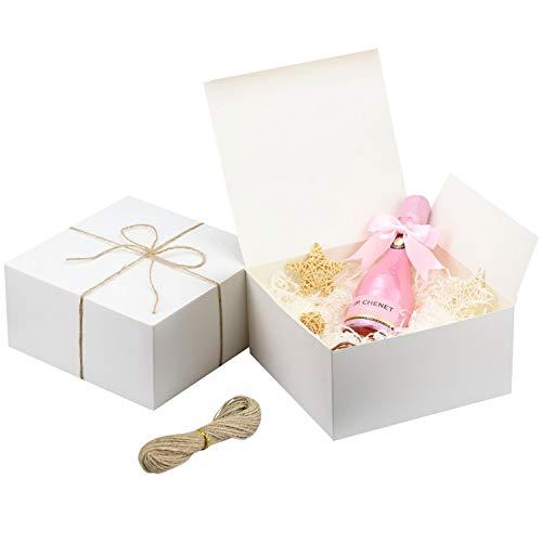 Kraft Cajas de Regalo Cartón Blancas (Pack de 12)-Medidas 20x20x10cm -Cajas Regalo con...