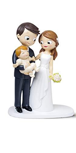 Mopec Figura Novios y Bebé, Poliresina, Blanco, 7.8x16x21 cm
