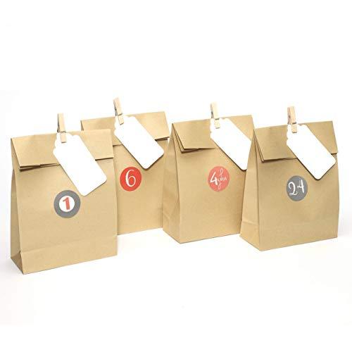 Plantvibes 24 Bolsas de papel kraft marrón hermosas, Bolsa para regalos con tarjetas y...
