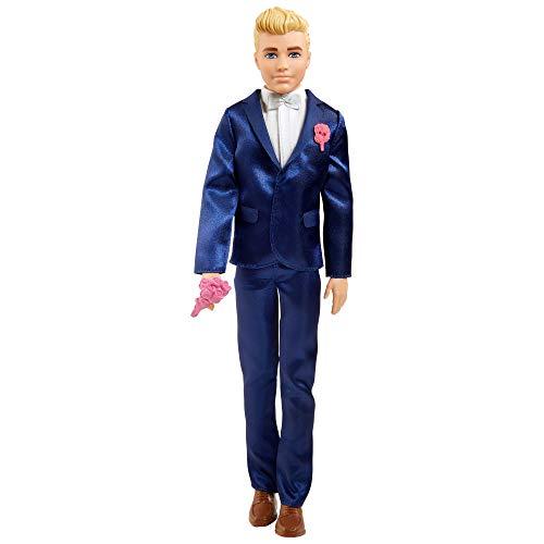 Barbie Ken Novio Muñeco vestido con traje de novio con accesorios para boda (Mattel...