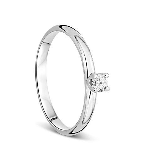 Orovi Anillo Señora Solitario en Oro Blanco con Diamante Talla Brillante 0.10 ct Oro 9 Kt...