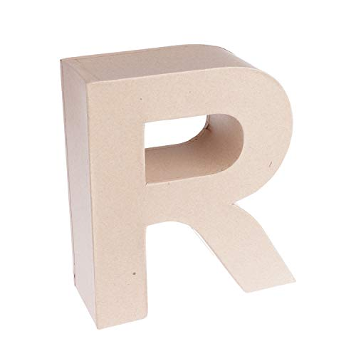 MP - Letra Decorativa en 3D Grande de Cartón - Letra R - Color Kraft, 16,5 cm