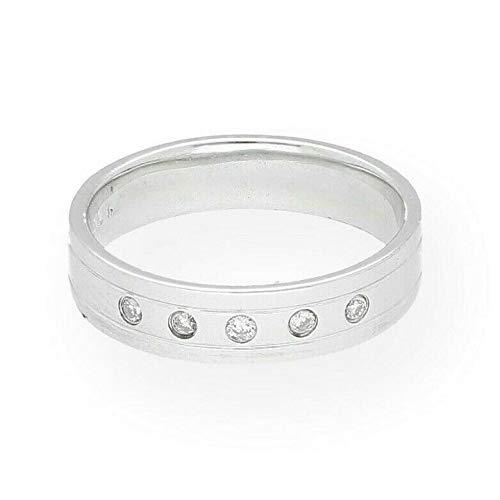 Platinum 950 Flat Court - Alianza de boda de diamante de 0,10 quilates (tamaño H 1/2) 4...