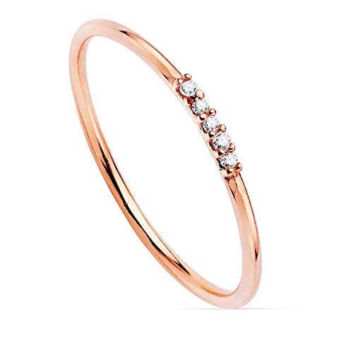 Sortija oro rosa 18k lisa centro 5 diamantes 0.025ct. cuerpo redondo