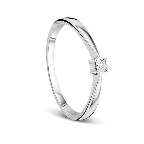 Orovi Anillo Señora Solitario en Oro Blanco con Diamante Talla Brillante 0.05 ct Oro 9 Kt...