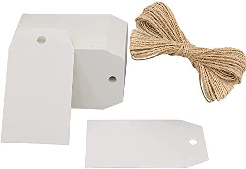 100 etiquetas kraft etiquetas etiquetas de regalo 4 cm x 7 cm blanco etiquetas Etiqueta de...
