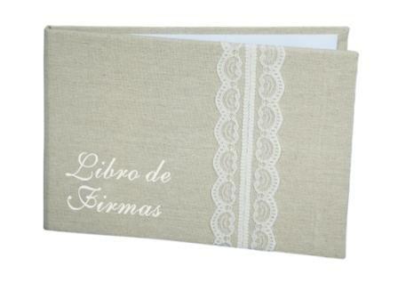 DISOK - Libro De Firmas Yute Bodas Kraft - Libros de Firmas para Bodas Retro, Vintage,...