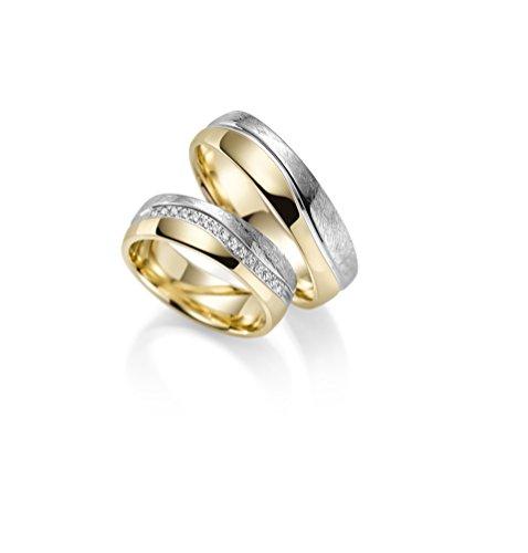 Par de alianzas Rubin Juwelier en oro 333 amarillo y oro blanco. Incluye grabado y...
