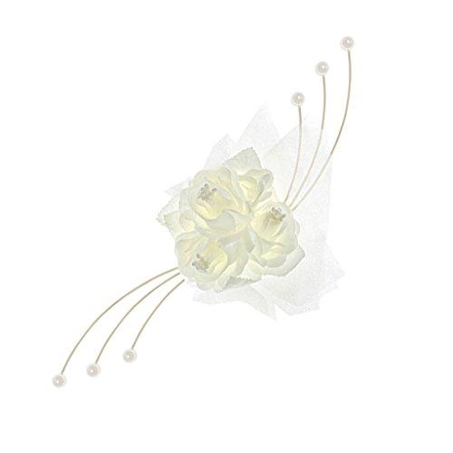 PartyDecoBRS - Juego de 4 Rosas Decorativas para Coche de Novios, Color Marfil