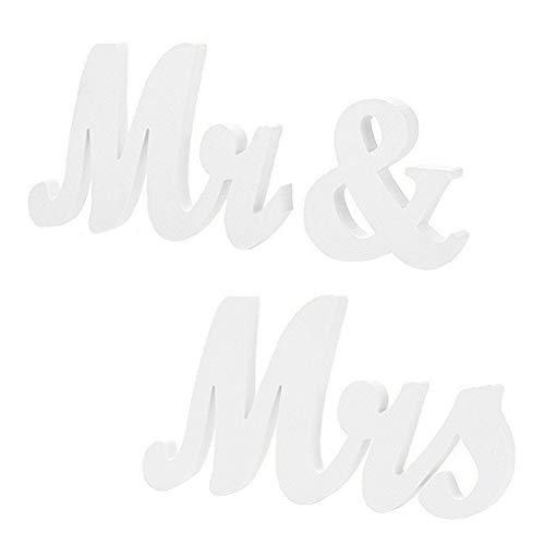 EQLEF® Mr Mrs Letras de madera, decoración de bodas Letreros de boda Presente Mesa de...
