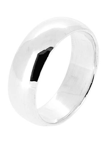 TreasureBay Anillo de plata de ley pulida de 5/6/7/8 mm, anillo de compromiso para hombres...