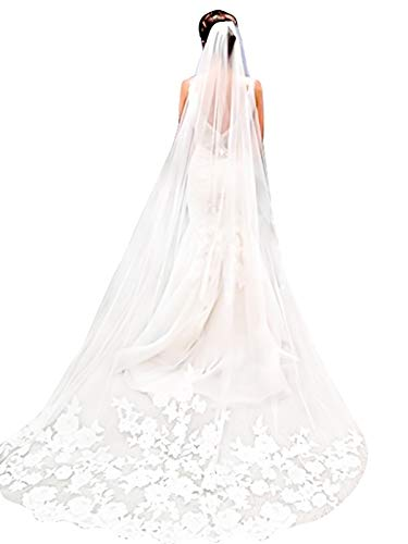 Velo de Novia de una Sola Capa Lianshi Bridal Veil Encaje Bordado Novia Suministros 3m...