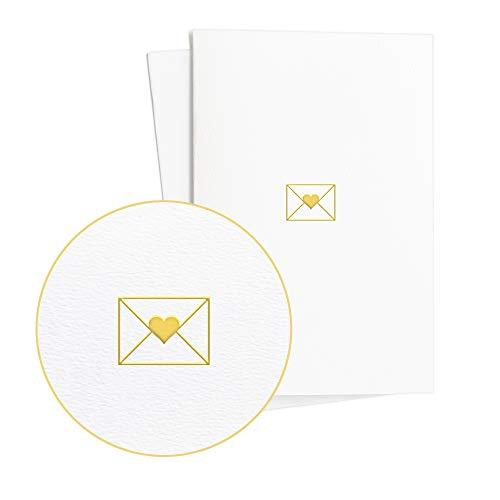 Juego de 2 Tarjetas de boda, anillos en relieve de lámina dorada, tarjeta de...