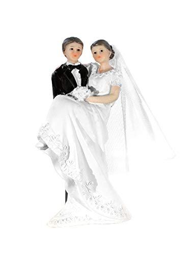 P&D - Decoración para tarta de novia con velo en brazos, color blanco y negro