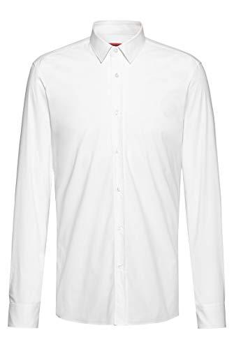 HUGO Elisha02 Camisa, Blanco (Open White 199), Large (Talla del Fabricante: 41) para...