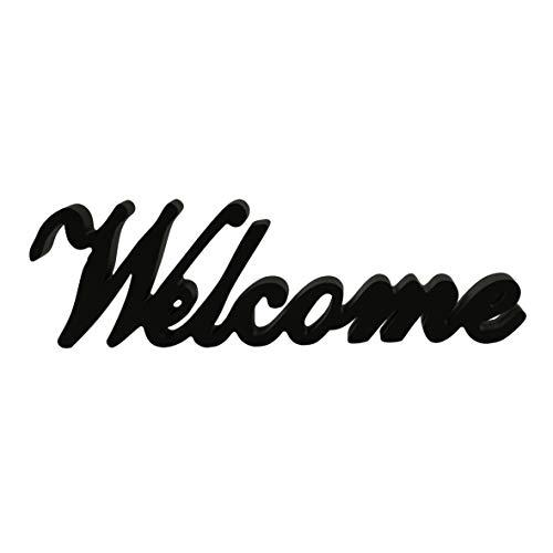 CVHOMEDECO. Signo de palabras de madera negro mate de pie libre 'Welcome' Escritorio /...