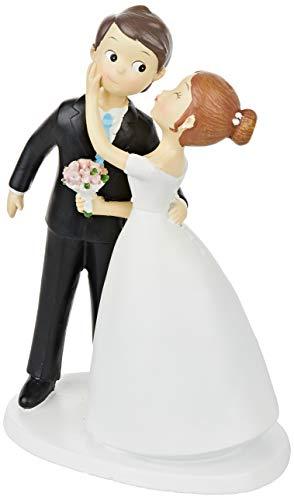 Mopec Y971 - Figura para tarta de boda, pareja de novios beso, 21 cm, color blanco roto