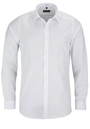 Marvelis - Camisa Formal - Slim - Liso - Clásico - Manga Larga - para Hombre Blanco 37
