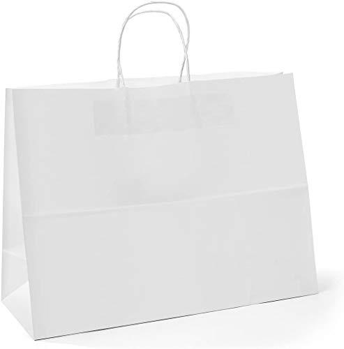 Switory Bolsa de regalo Kraft de 25 piezas, bolsa de papel grande blanca de 40x15x38cm con...