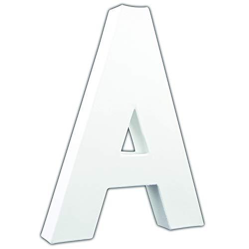 Decopatch Letra A Grande Papel maché, 13 x 16 x 20,5 cm, Color Blanco