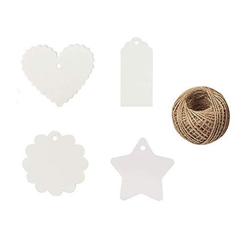 Etiquetas del regalo del papel de Kraft 400PCS con guita del yute, etiqueta colgante en...