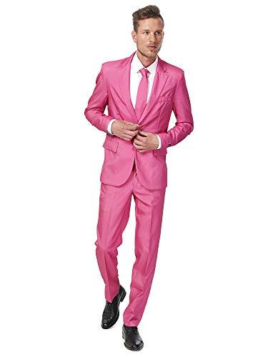 Suitmeister Hombre Men Suit Juego de pantalones de traje de negocios , Solid Pink, XXL