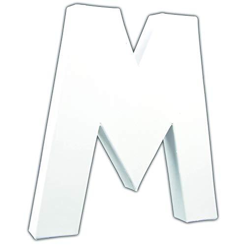 décopatch Letra M (Papel maché), Color Blanco, Medium