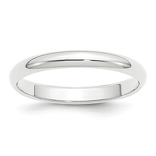 Diamond2deal - Alianza de Boda de Platino de 3 mm, Media Redonda, tamaño 6,5