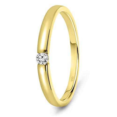 Miore Anillo solitario de compromiso en oro amarillo 8 quilates 333/1000 con diamante...
