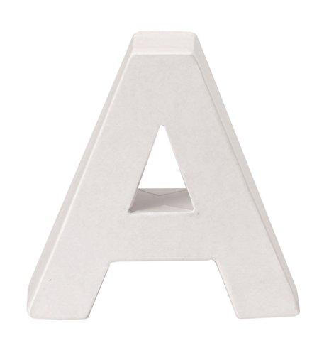 GLOREX Letra A de cartón FSC Mix Blanco, 10 x 10 x 3,5 cm