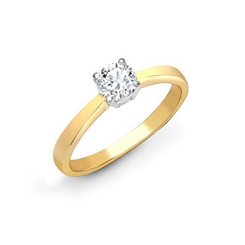 Jewelco Europa Anillo De Compromiso De Diamante Solitario Redondo Con 4 Garras De Juego De...